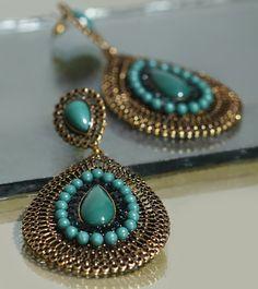 Blue Stone Embellished Earrings