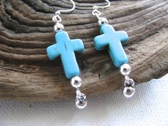 Long Dangly Silver and Turquoise Cross Earrings - pinned by pin4etsy.com