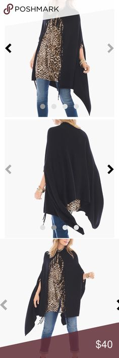 """[Chico's] One-Size Mimi Fringe Cape Black Not all heroes wear capes (but most fashion icons do.) This dramatically draped layering piece is made all the more necessary with a knotted fringe detail. Length: 27.5"""". Cotton, rayon and nylon. Machine wash.  Excellent condition! Chico's Jackets & Coats Capes"""