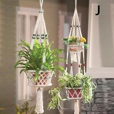 4.35AUD - Vintage Macrame Plant Hanger Garden Flower Pot Holder Legs Hanging Rope Baskets #ebay #Home & Garden