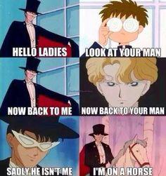 Tuxedo Mask was my first anime/cartoon crush! Studio Ghibli, Sailor Moon Funny, Sailor Moon Quotes, Tuxedo Mask, Hello Ladies, Kaichou Wa Maid Sama, Sailor Moon Crystal, Sailor Scouts, Magical Girl