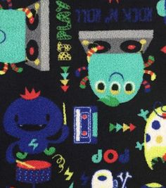 Ultra Fluffy Fleece Fabric-Rock N Roll Monster