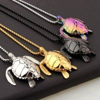Wish | 24K Gold Plated Tortoise Pendant Necklace Titanium Steel 70cm Boxing Link Chain Hip Hop Turtle Charm Mens Fashion Jewelry Gifts