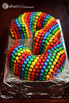 """Three"" 3 cake using two bundt cakes and lots of m&ms!"