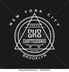 Vector illustration on the theme of skateboarding and skateboard in New York City, Brooklyn. Stamp typography, t-shirt graphics, poster, print, postcard