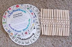 Circular templates with upper or lowercase letters. Match clothespins to letters.
