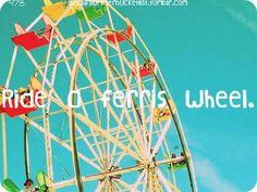 Ride a ferris wheel... even though they scare the crap out of me!!