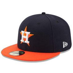 buy popular 887ce eec49 Men s Houston Astros New Era Navy Orange Road Authentic Collection On Field  59FIFTY Performance Fitted Hat