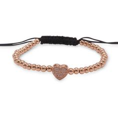 Brass Adjustable CZ Heart Charm Bracelet