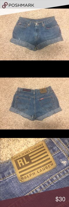 Ralph Lauren Shorts Dark wash denim shorts from the Polo Jeans Company, with a fringe cut. In good shape, lightly worn. Can be cuffed (see pictures). They are size 4 or 31. Open to negotiation! Request pictures or ask questions in the comments! Ralph Lauren Shorts Jean Shorts