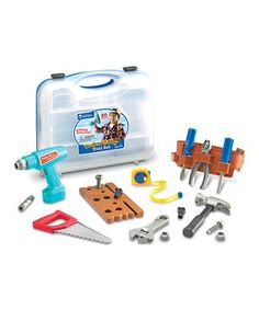 Little builders can construct their own elaborate imaginative mansions with this chunky tool set. The soft, lightweight plastic makes it easy for curious hands to use the durable tools. Featuring a darling drill that makes realistic sounds and a tool belt that doubles as storage, it's a creative collection that's perfect for interactive play.