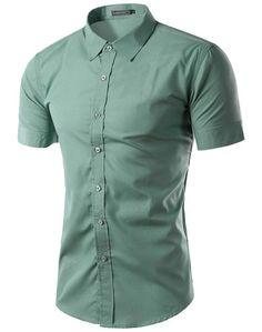 2016 Summer Men's Brand Clothes Turn-Down Collar Short Sleeve Shirts