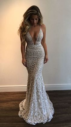 Sexy V-neck Mermaid Prom Dresses,Beading Evening Dresses,Spaghetti Long Dresses,230
