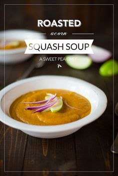 Roasted Acorn Squash Soup – A Sweet Pea Chef added hazelnut milk and served with lingonberry jam