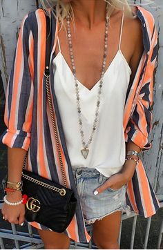 #summer #fashion cardigan in bright stripes and of course denim shorts