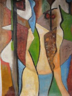 ABSTRACT EXPRESSIONIST MODERNIST FUTURIST CUBIST OIL PAINTING BERNSOHN LISTED NR