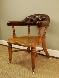 A Stylish Oak Victorian Office Chair Victorian Office Chairs, Desk Chair, Victorian Homes, Antique Furniture, Home Furnishings, Lounge, Dining, Antiques, Stylish