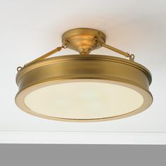 $260 Traditional Urban Semi Flush Ceiling Light antique_brass