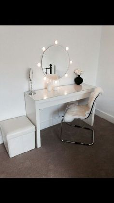 Ikea malm dressing table with round mirror and lights! Ideal for dressing room! : Ikea malm dressing table with round mirror and lights! Ideal for dressing room! Ikea Malm Dressing Table, Dressing Tables, Dressing Rooms, Glam Room, Dream Rooms, New Room, House Rooms, Bedroom Decor, Master Bedroom