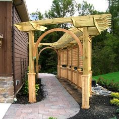 a photo and description of a pergola that was built to support a wisteria vine by Elyria Fence Inc. A Cleveland pergola company since Diy Pergola, Wood Pergola, Pergola Swing, Cheap Pergola, Pergola Shade, Pergola Plans, Pergola Kits, Pergola Ideas, Outdoor Pergola