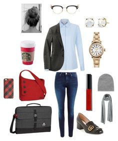 """Casual Work Day"" by kok4253 ❤ liked on Polyvore featuring TravelSmith, Lee, OGIO, Gucci, Thom Browne, Shinola, Irene Neuwirth, Bobbi Brown Cosmetics, J.Crew and MANGO"
