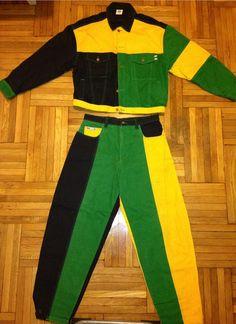 Vintage 90s RARE CROSS COLOURS denim jacket and jean rasta color Africa hip hop rap Tupac Fresh Prince Funky sur Etsy, $388.64 CAD