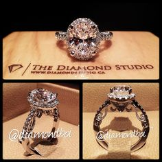 """Nate i know its probably way too expensive but anything that looks like this would be perfect lol!  This """"wow"""" ring was made with a 2.00ct oval cut diamond. The diamond sits on a tight oval shaped Italian pave halo. The thin shank also features diamonds in an Italian pave setting. The gallery features amazing filigree work that ends with the clients initial on one side and his fiancé's initial on the other side."""
