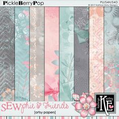 SEWphie & Friends Artsy Papers :: Coordinates with the entire Sewphie and Friends Digital Scrapbooking Collection by Kathryn Estry @ PickleberryPop . $3.99