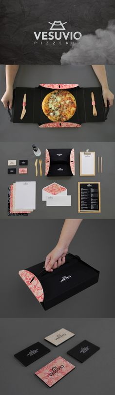 Vesuvio Pizzeria Branding by Angelica Baini. Yumm pizza for lunch #packaging the team loves pizza #2014 top pin PD