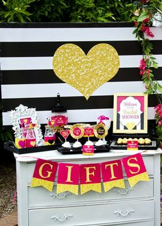 Gift station at a Kate Spade bridal shower party! See more party planning ideas at CatchMyParty.com!