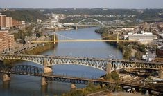 Pittsburgh a City of bridges.  Great view of  the the city going up to Oakland and Southside.  That is the Monogahela River.  We are definitely a city of bridges.  From bottom to top, Railroad Bridge, the Liberty Bridge, Tenth Street Bridge and the Birmingham Bridge.