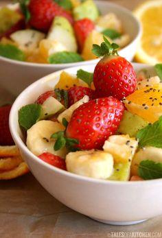 Fruit salad spiced with cardamom and lemon tahini dressing
