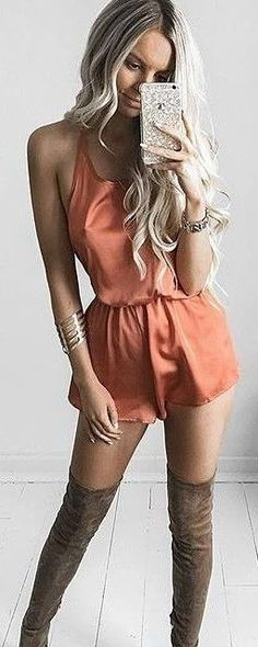 #summer ##flawless #Outfits | Rust Loose Playsuit