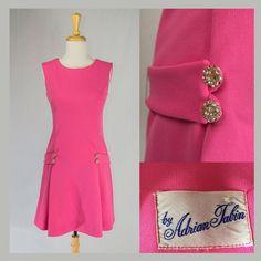 Vintage 60s Mod Pink Valentine Dress Rhinestone by madvintage #voguet #vogueteam