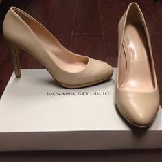 NWT Nude Leather BR Pumps NWT (in original box) neutral nude colored Banana Republic pumps. Very comfortable for all day wear. I have these in multiple colors for my everyday wardrobe. See second picture for measurements. Banana Republic Shoes Heels