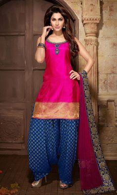 USD 203.73 Pink Georgette Patiala Salwar Kameez 34797
