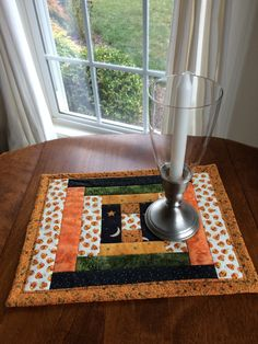 Halloween Quilted Log Cabin Table Topper, Halloween quilted table runner - reversible