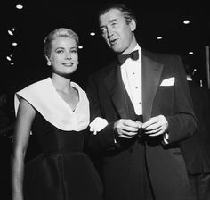 """American actress Grace Kelly (1929 - 1982) with """"Rear Window"""" co-star James Stewart, at the Hollywood premiere of the film, 10th August 1954."""