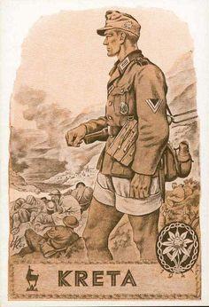 "German WWII propaganda depicting a German soldier, ""Kreta"" - fighting on Crete"