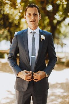 Gray groom suit with skinny, light gray necktie {Nessa K Photography} Groom And Groomsmen Style, Groom Style, Wedding Gallery, Wedding Photos, Wedding Ideas, Groom Accessories, Waterfront Wedding, Boutique, Bridal