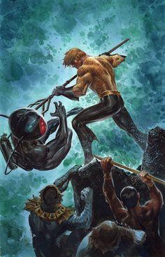 Aquaman versus Black Manta: Frazetta Homage by ardian-syaf Dc Comics Heroes, Dc Comics Art, Comic Book Heroes, Marvel Dc Comics, Comic Books Art, Comic Art, Aquaman Villains, Black Manta, Avatar