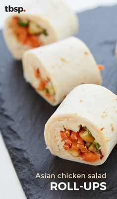 These chicken salad roll-ups pack a flavorful crunch in every bite. Chicken, carrots and cashews, plus a chile-soy-ginger spiked cream cheese are what give this appetizer its killer flavor. Warning: You won't be able to eat just one. Appetizer Ideas, Appetizer Recipes, Appetizers, Football Party Foods, Asian Chicken Salads, Salad Rolls, Cream Cheese Spreads, Cream Cheese Chicken, Roll Ups