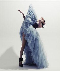 Blue Tutu Gown, black bodice & stiletos. I love it!!