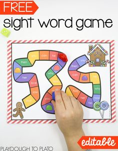 Free gingerbread sight word game for kindergarten or first grade! I love that it's editable - you could practice any words under the sun.