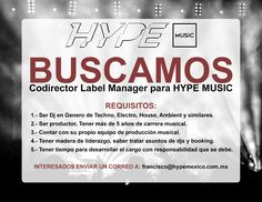 BUSCAMOS Codirector Label Manager para HYPE MUSIC