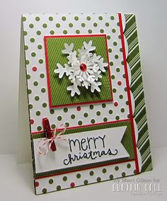 Cute Merry Christmas card with dots, stripes, mini clothespin, baker's twine and snowflakes! from Paper Crafty's Creations