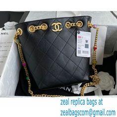 Chanel Resin Chain Lambskin Drawstring Bucket Bag AS2381 Black 2021