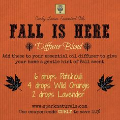 Curly Loves Essential Oils. Spark Naturals. Fall Is Here Essential Oil Diffuser Blend
