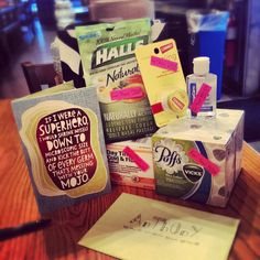 """Made my sick boyfriend a """"get well"""" gift bag with all the needed essentials  to kick his colds ass!! Cant wait to surprise him with it"""
