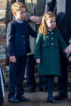 Prince George and Princess Charlotte make their royal Christmas walk debut alongside Prince William and Kate Middleton Prince George Alexander Louis, Prince William And Catherine, William Kate, Catherine Walker, Prince William Kids, Princess Anne, Prince And Princess, Royal Prince, Duchess Of Cornwall